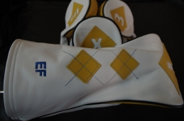 Custom Reserve design in Pure White body with yellow argyle pattern and blue stitching / custom initials in blue. #custombycru
