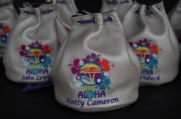 Silver Bullet Valuables pouch for annual Aloha event. Custom design with matching Purple draw cord.