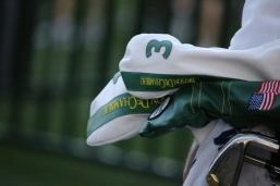 Bryson DeChambeau at 2016 masters tournament with his Pure White and Green Major Collection headcovers.