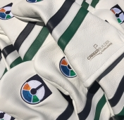 Unique Corporate Gift for Career Builder using pure white body with triple vintage stripe in navy/white/green with custom embroidery.